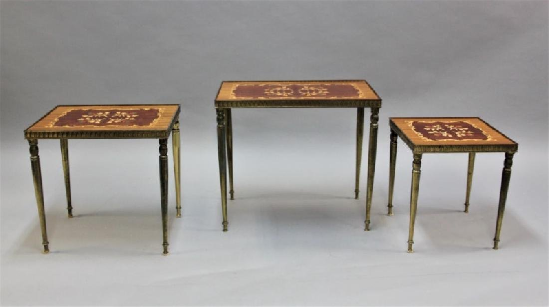 (2) Sets (3 each) Nesting Tables Brass, Wood - 5