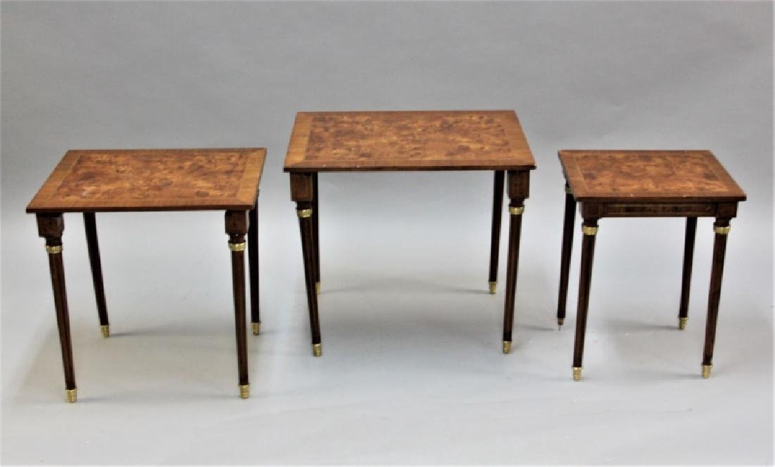(2) Sets (3 each) Nesting Tables Brass, Wood - 6