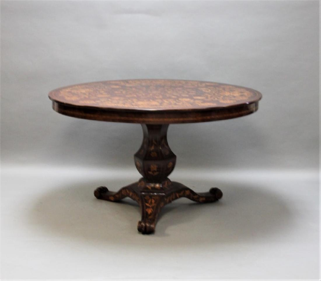 19C Dutch Marquetry Floral Inlaid Center Table
