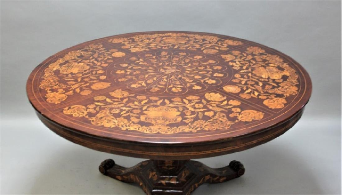 19C Dutch Marquetry Floral Inlaid Center Table - 3