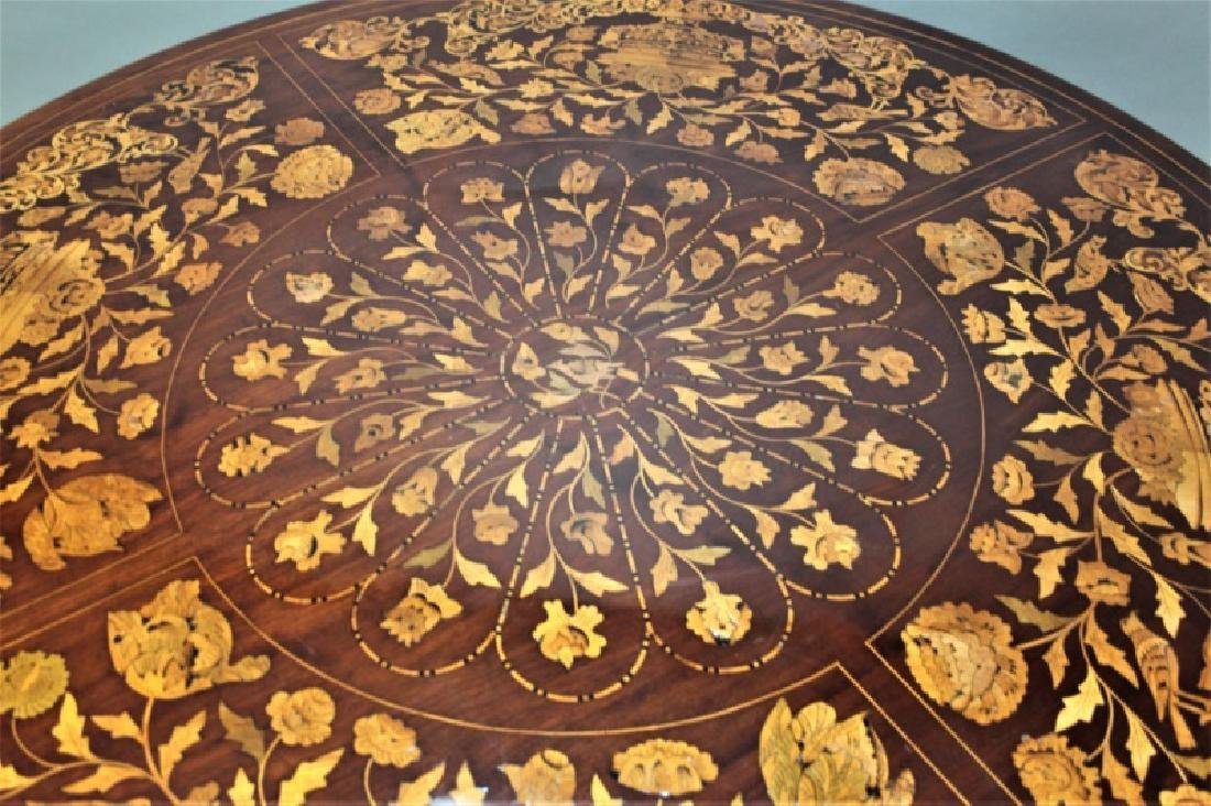 19C Dutch Marquetry Floral Inlaid Center Table - 4