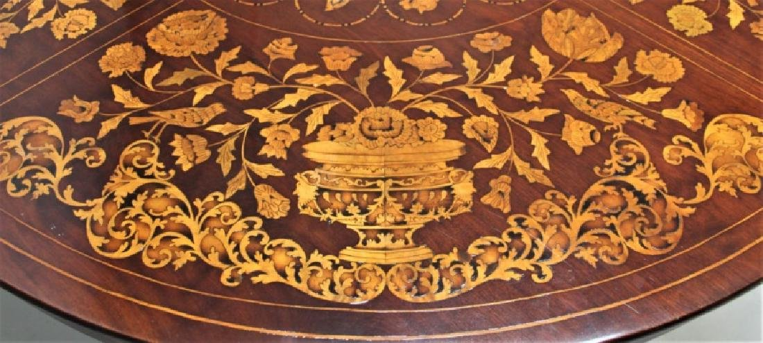 19C Dutch Marquetry Floral Inlaid Center Table - 5