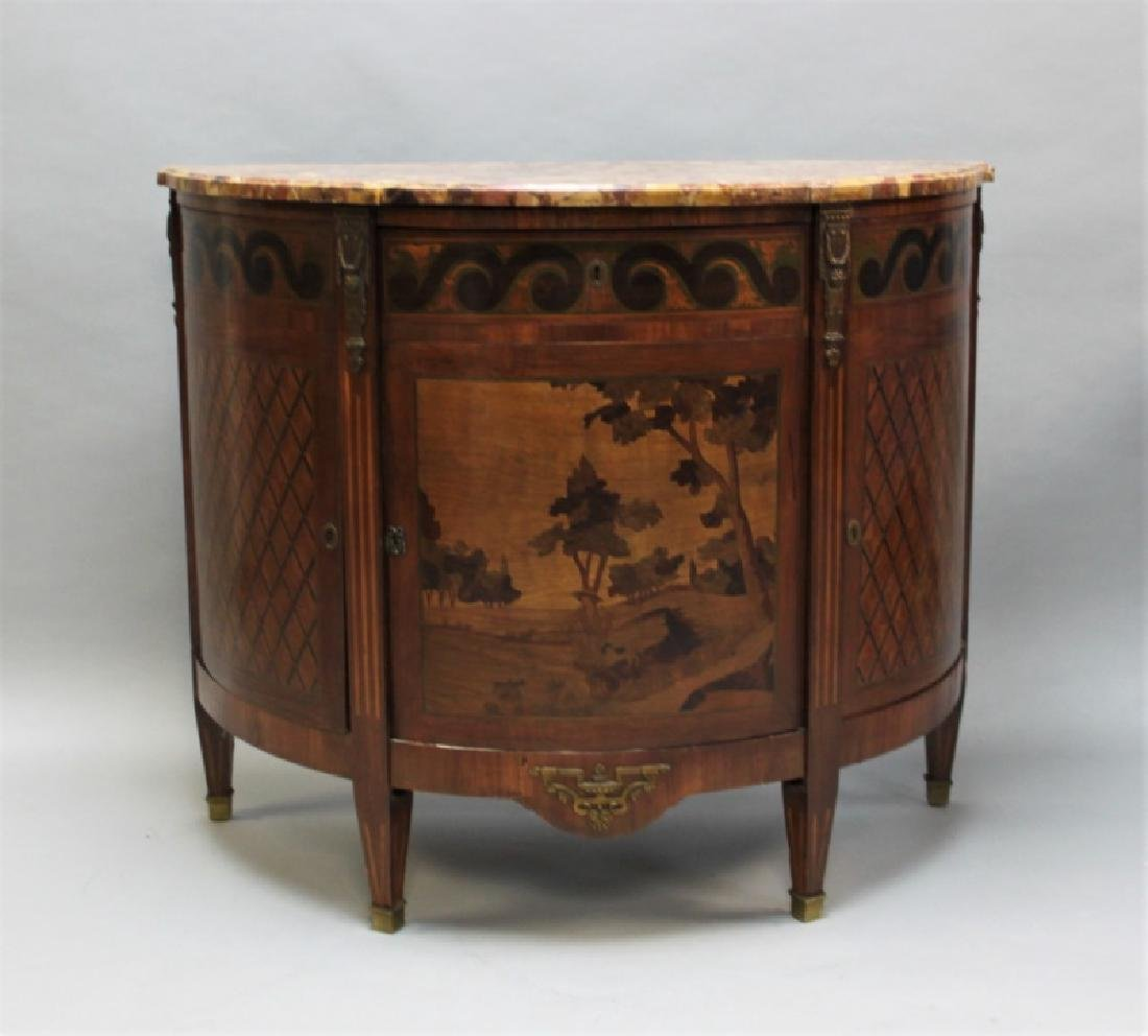 19th C Bedel & Cie French Demilune Commode