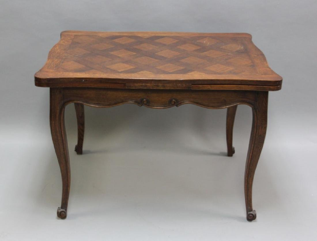 Louis XIV Style Oak Desk with Parquetry Top