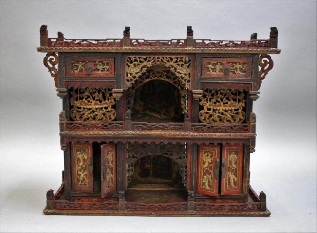Antique Carved Chinese Buddhist Altar Cabinet