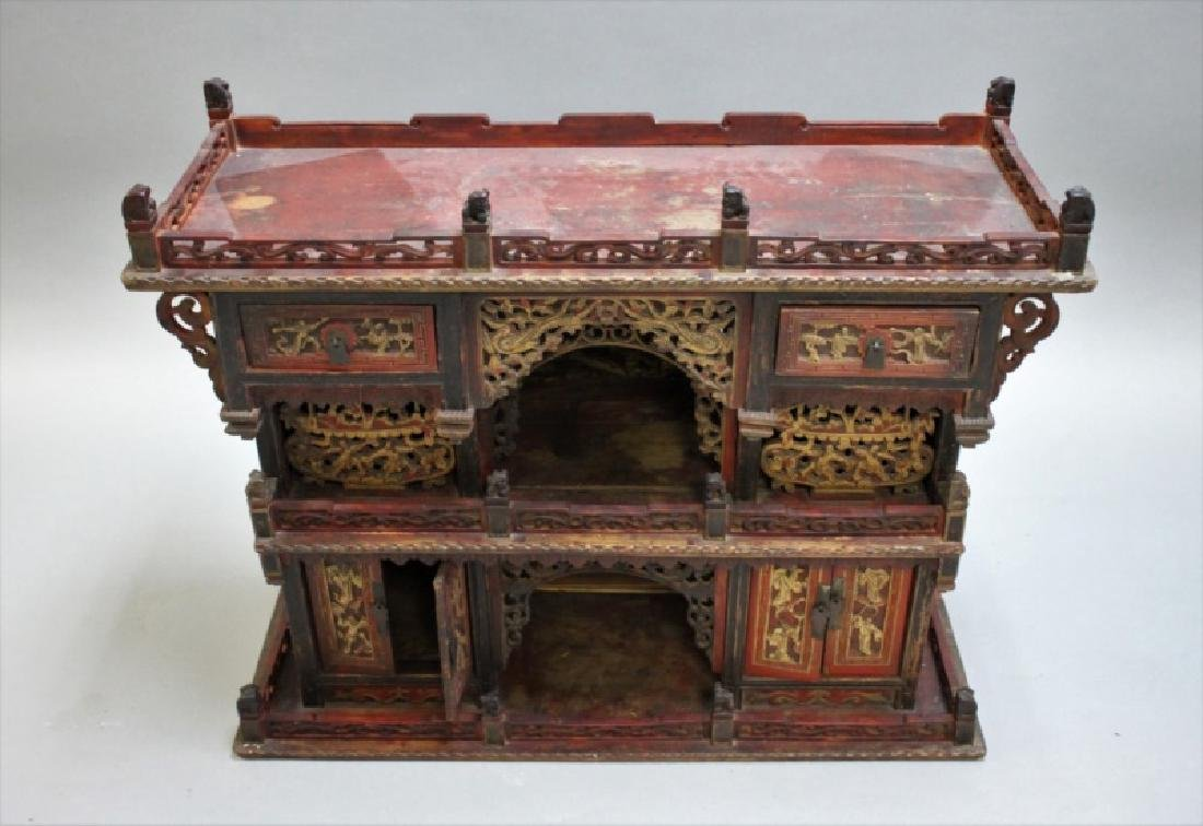 Antique Carved Chinese Buddhist Altar Cabinet - 3