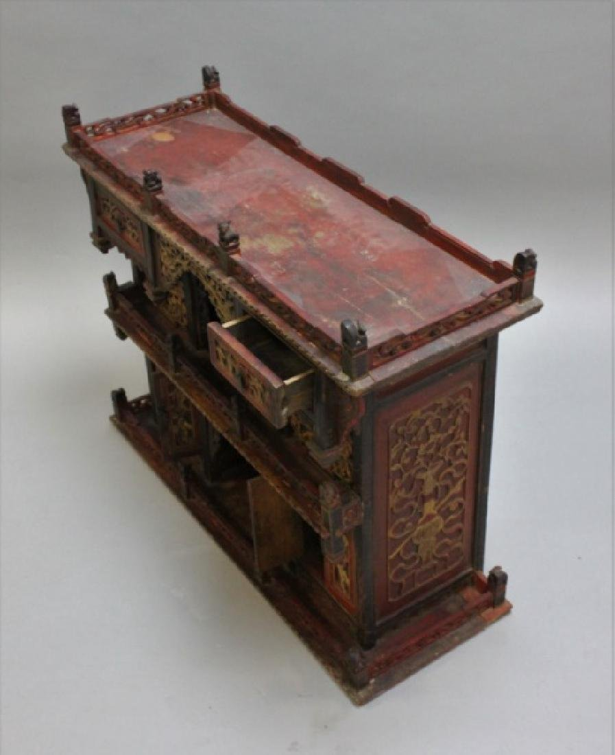 Antique Carved Chinese Buddhist Altar Cabinet - 4