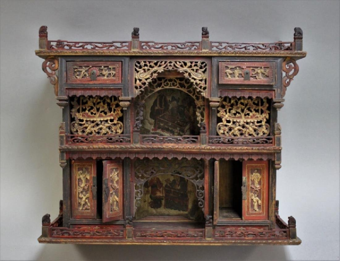 Antique Carved Chinese Buddhist Altar Cabinet - 5