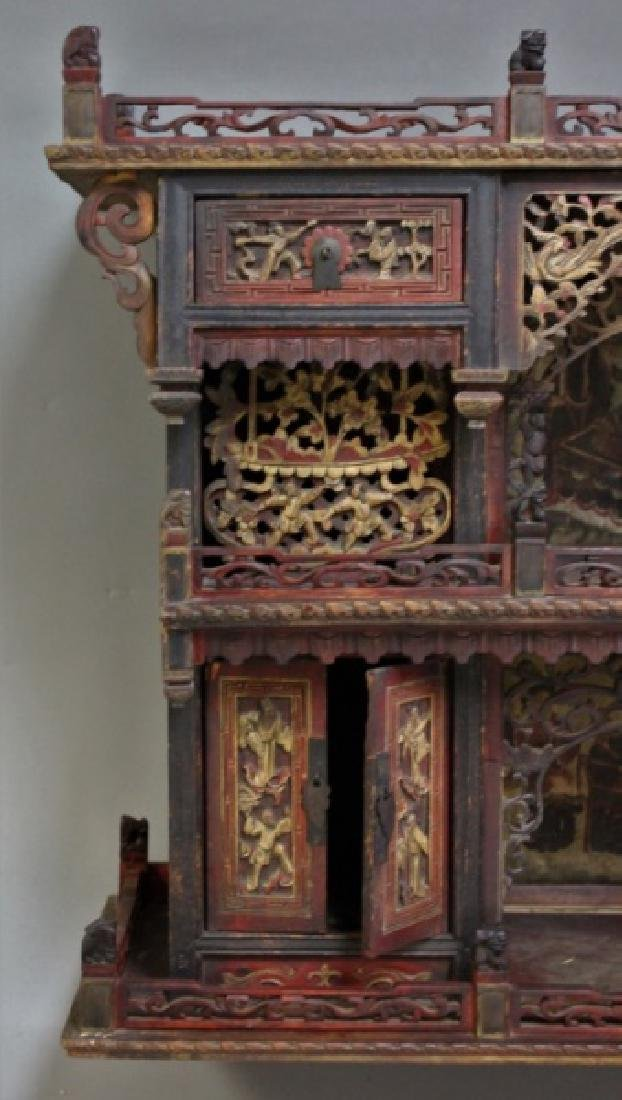 Antique Carved Chinese Buddhist Altar Cabinet - 6