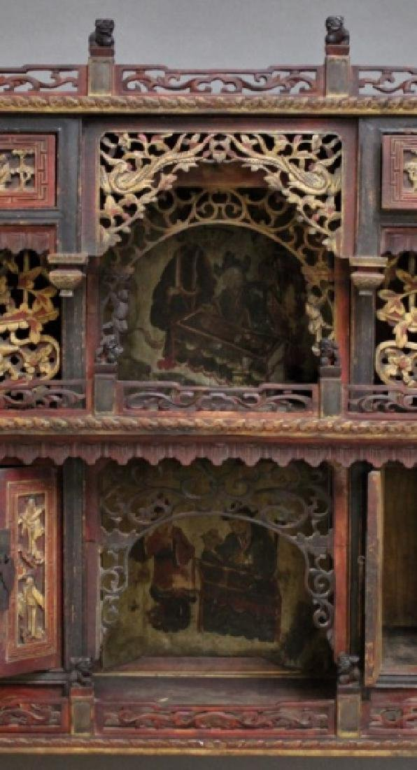 Antique Carved Chinese Buddhist Altar Cabinet - 7