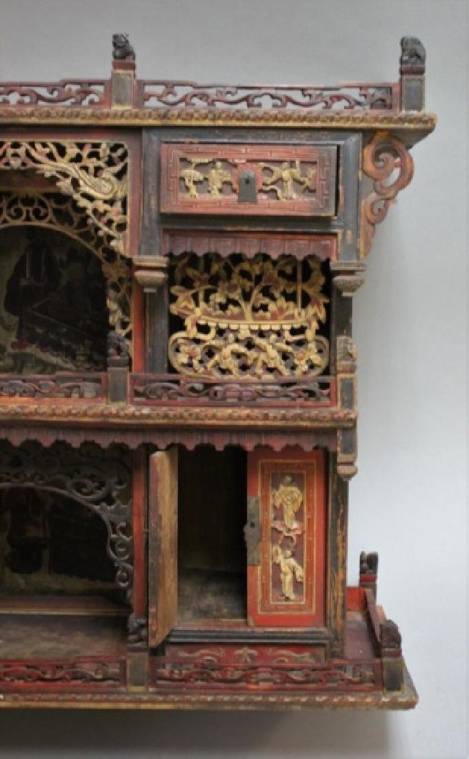 Antique Carved Chinese Buddhist Altar Cabinet - 8