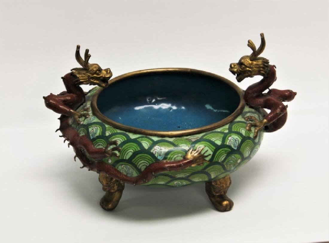 Chinese Cloisonne Footed Bowl with Dragon Handles