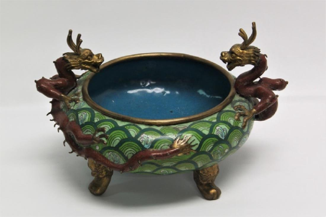 Chinese Cloisonne Footed Bowl with Dragon Handles - 2