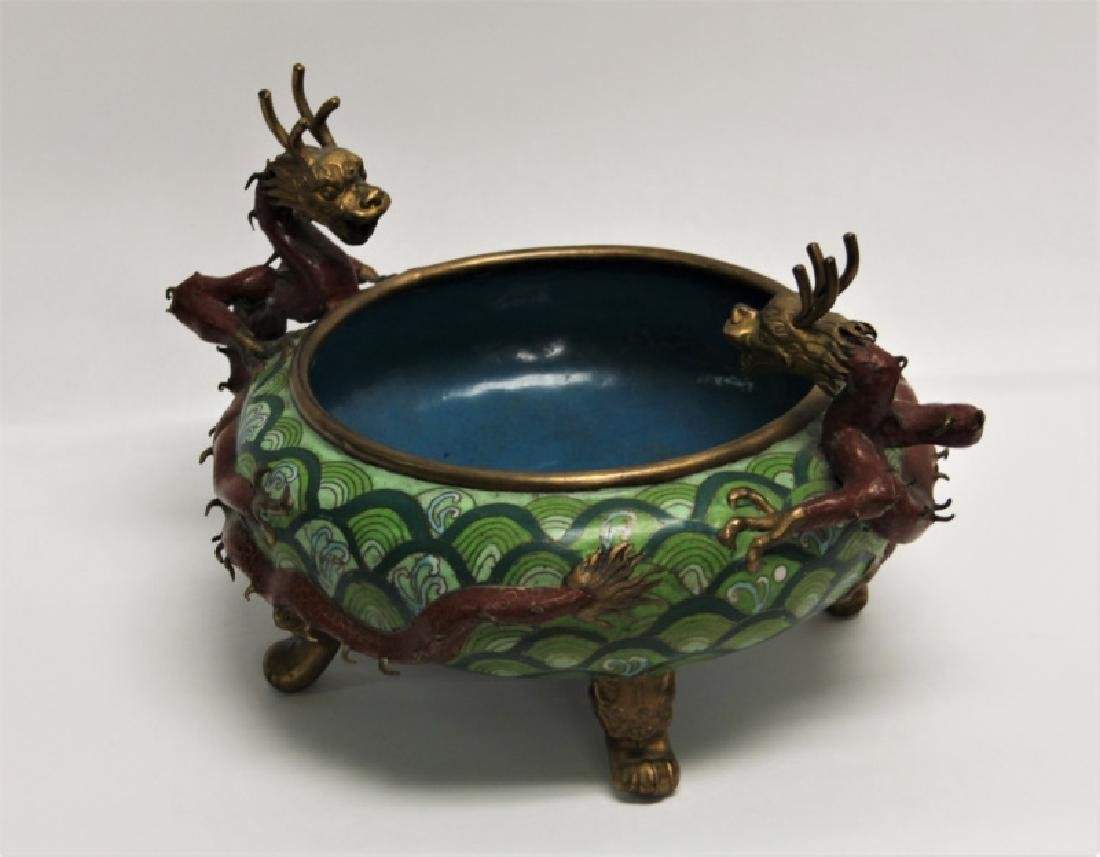 Chinese Cloisonne Footed Bowl with Dragon Handles - 4