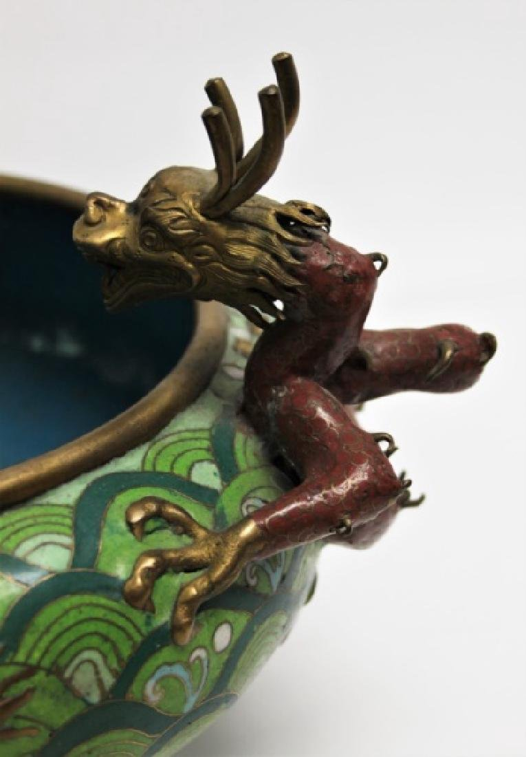Chinese Cloisonne Footed Bowl with Dragon Handles - 6