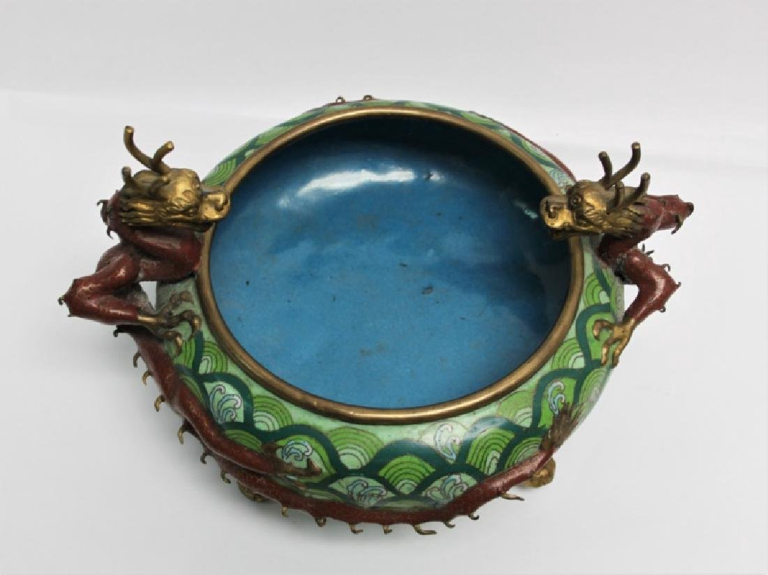 Chinese Cloisonne Footed Bowl with Dragon Handles - 8