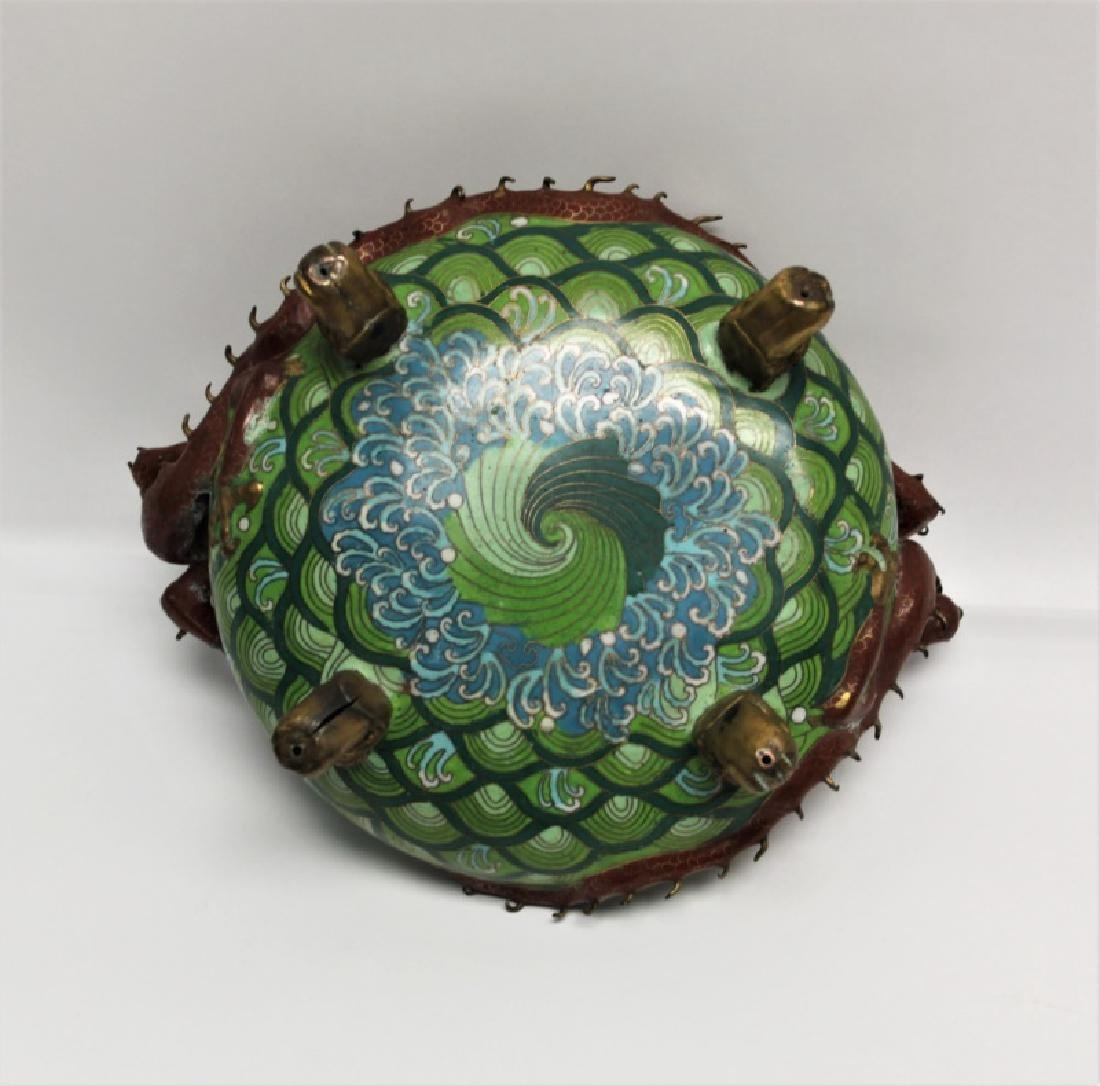 Chinese Cloisonne Footed Bowl with Dragon Handles - 9