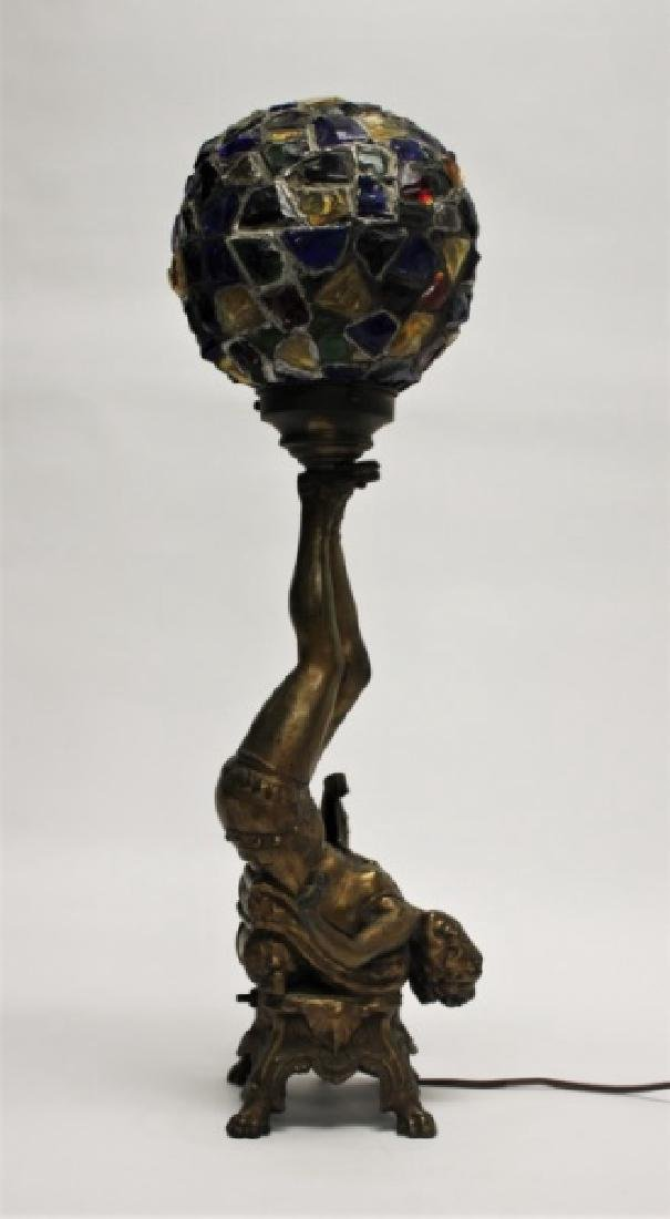 Art Deco Lamp, Lady Balancing Globe with Her Feet