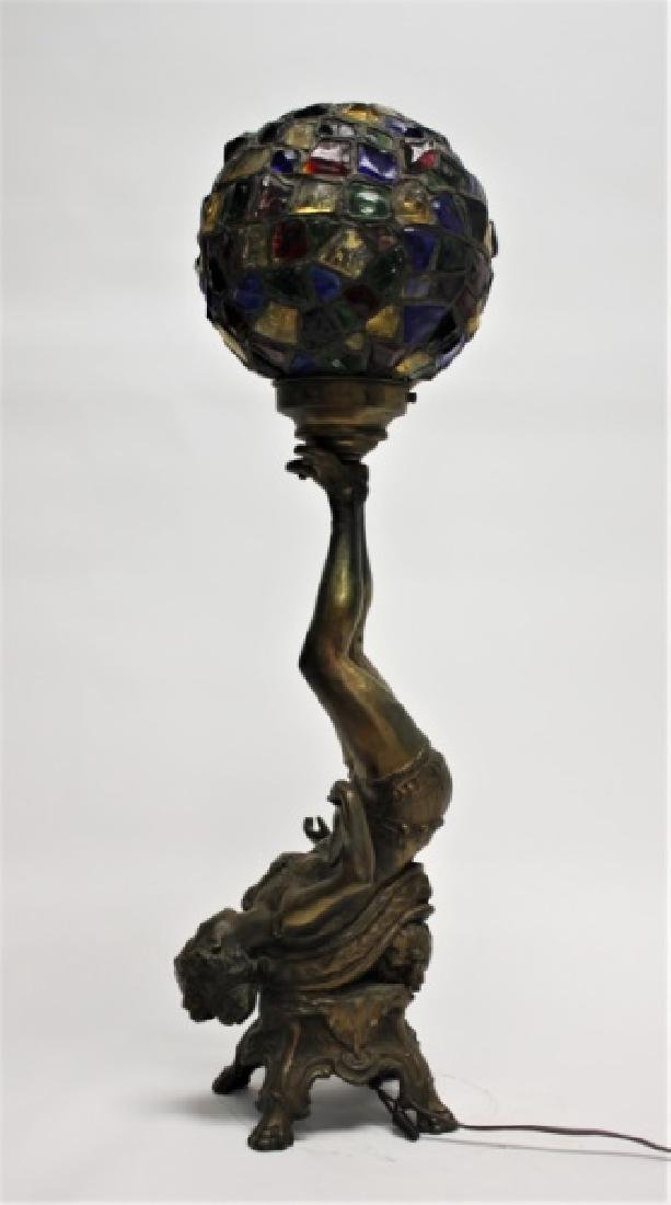 Art Deco Lamp, Lady Balancing Globe with Her Feet - 3