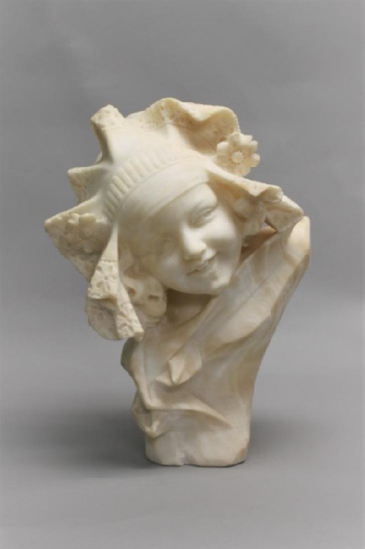 19th Century Alabaster Bust of a Young Girl