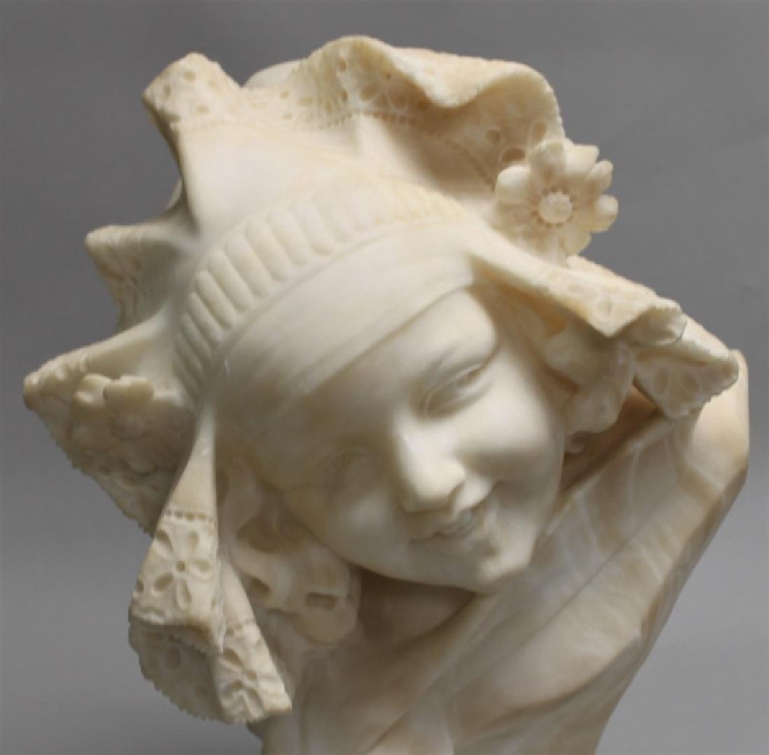 19th Century Alabaster Bust of a Young Girl - 6