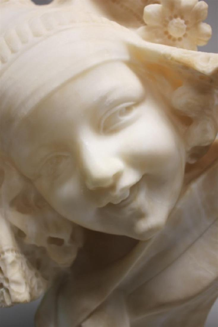 19th Century Alabaster Bust of a Young Girl - 7