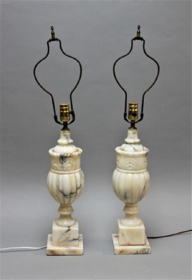 (2) Art Deco Carved Italian Marble Baluster Lamps