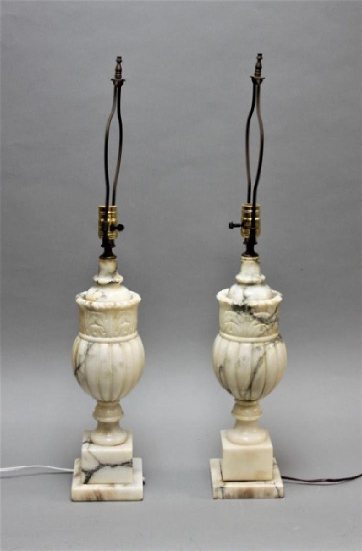 (2) Art Deco Carved Italian Marble Baluster Lamps - 2