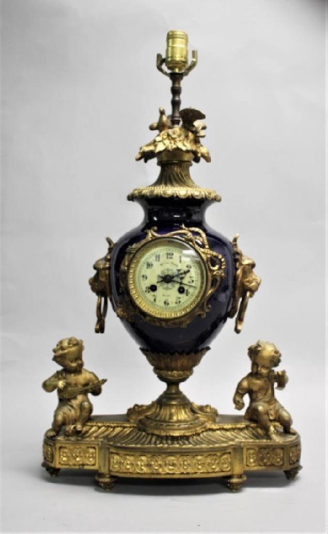 19C French Anvers Porcelain & Bronze Clock Lamp