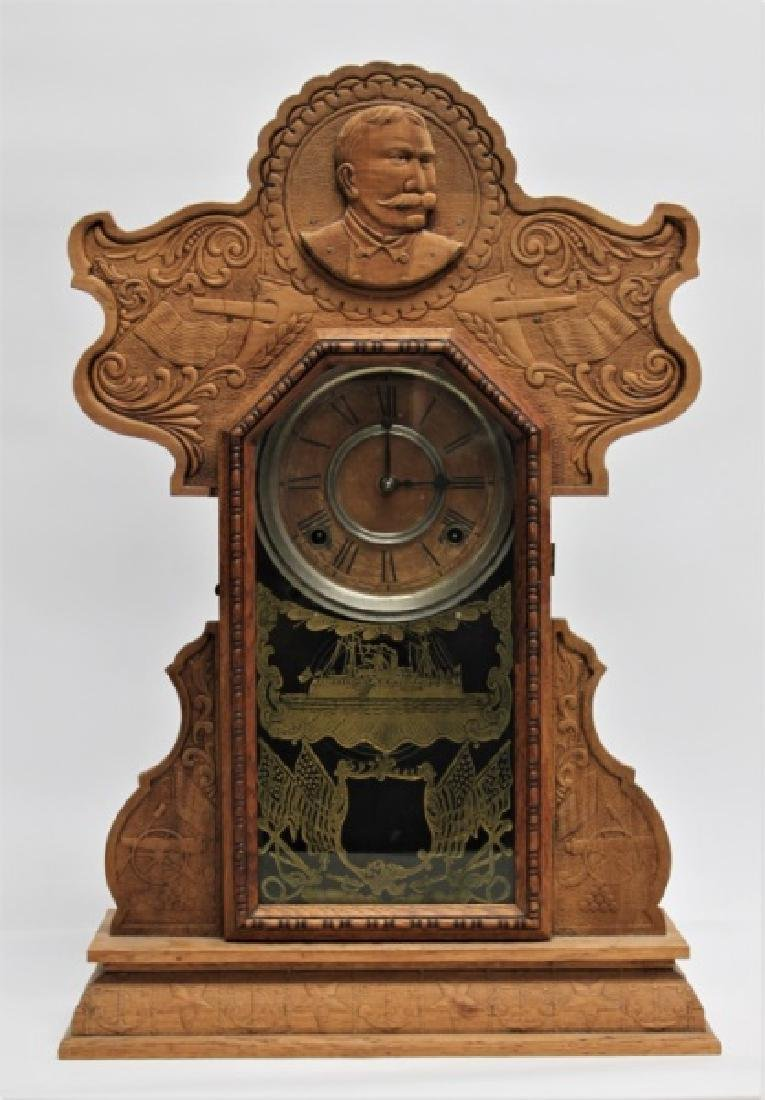 Ingraham Admiral Dewey Pressed Oak Mantle Clock