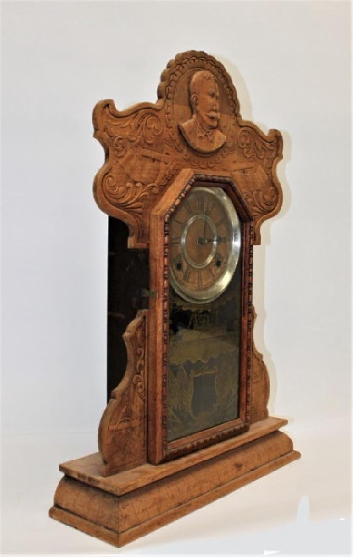 Ingraham Admiral Dewey Pressed Oak Mantle Clock - 2