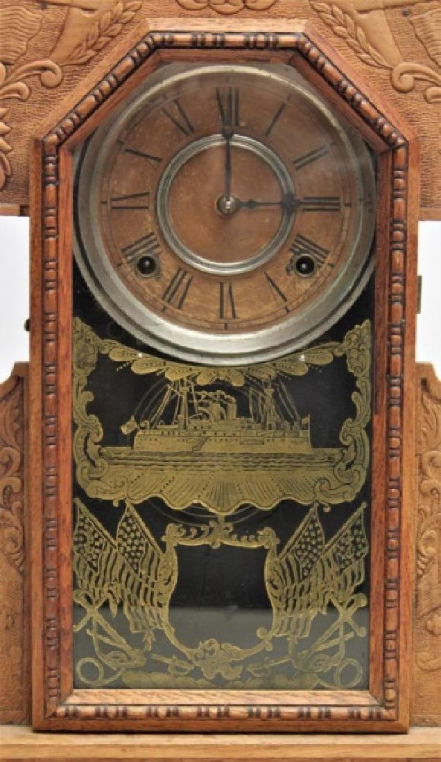 Ingraham Admiral Dewey Pressed Oak Mantle Clock - 4