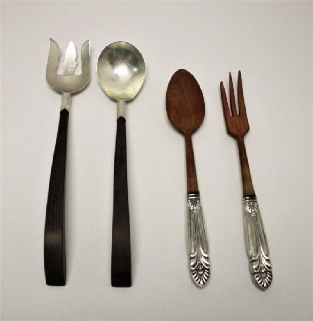 (2) Pr Vintage Sterling Silver & Teak Salad Tongs