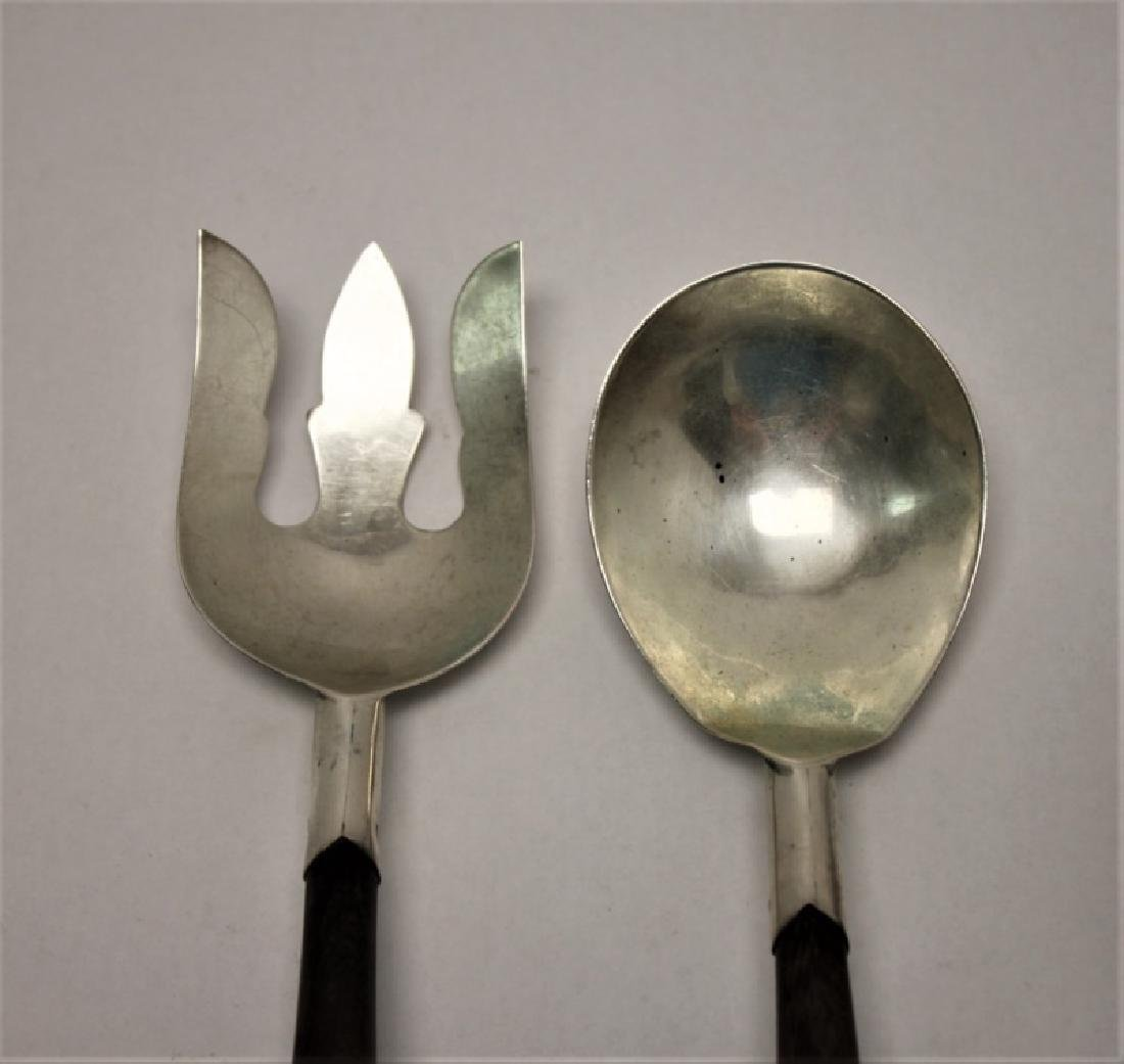 (2) Pr Vintage Sterling Silver & Teak Salad Tongs - 2
