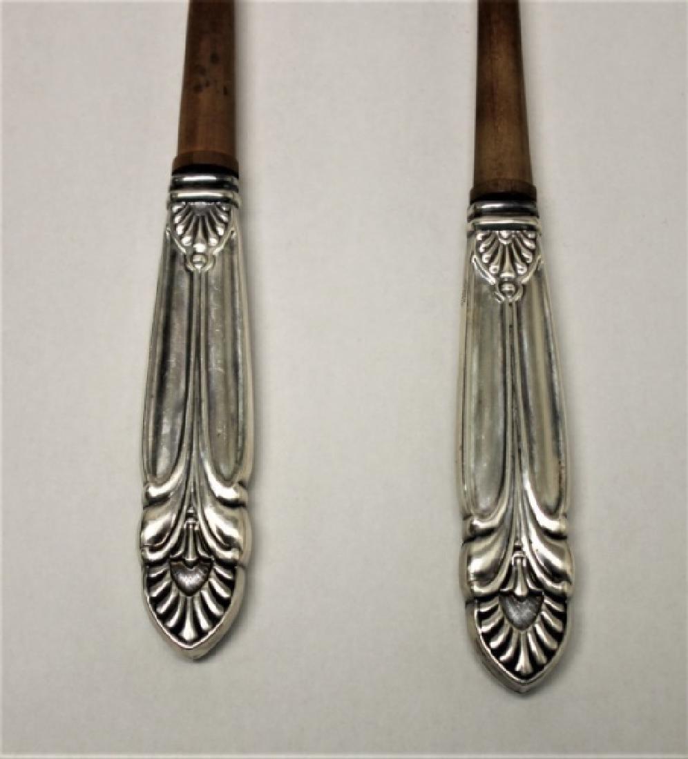 (2) Pr Vintage Sterling Silver & Teak Salad Tongs - 3