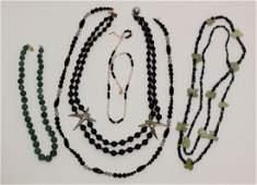(5) Semi-Precious Stone & 14k Gold Bead Jewelry