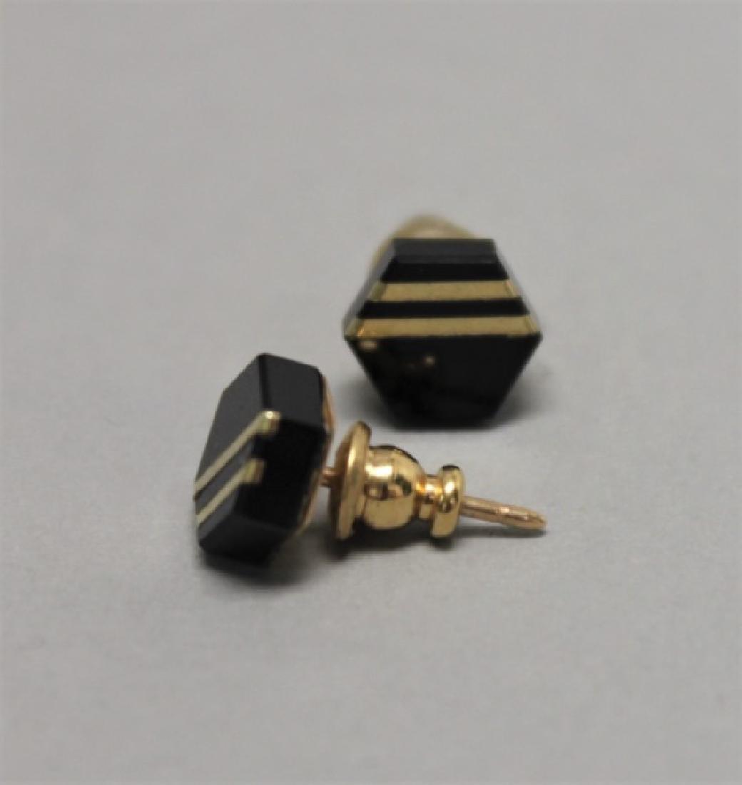 (5) Pairs 14K Gold Jade pearl & Onyx Earrings - 3