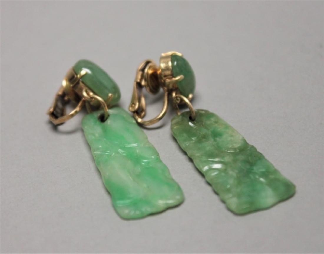 (5) Pairs 14K Gold Jade pearl & Onyx Earrings - 5
