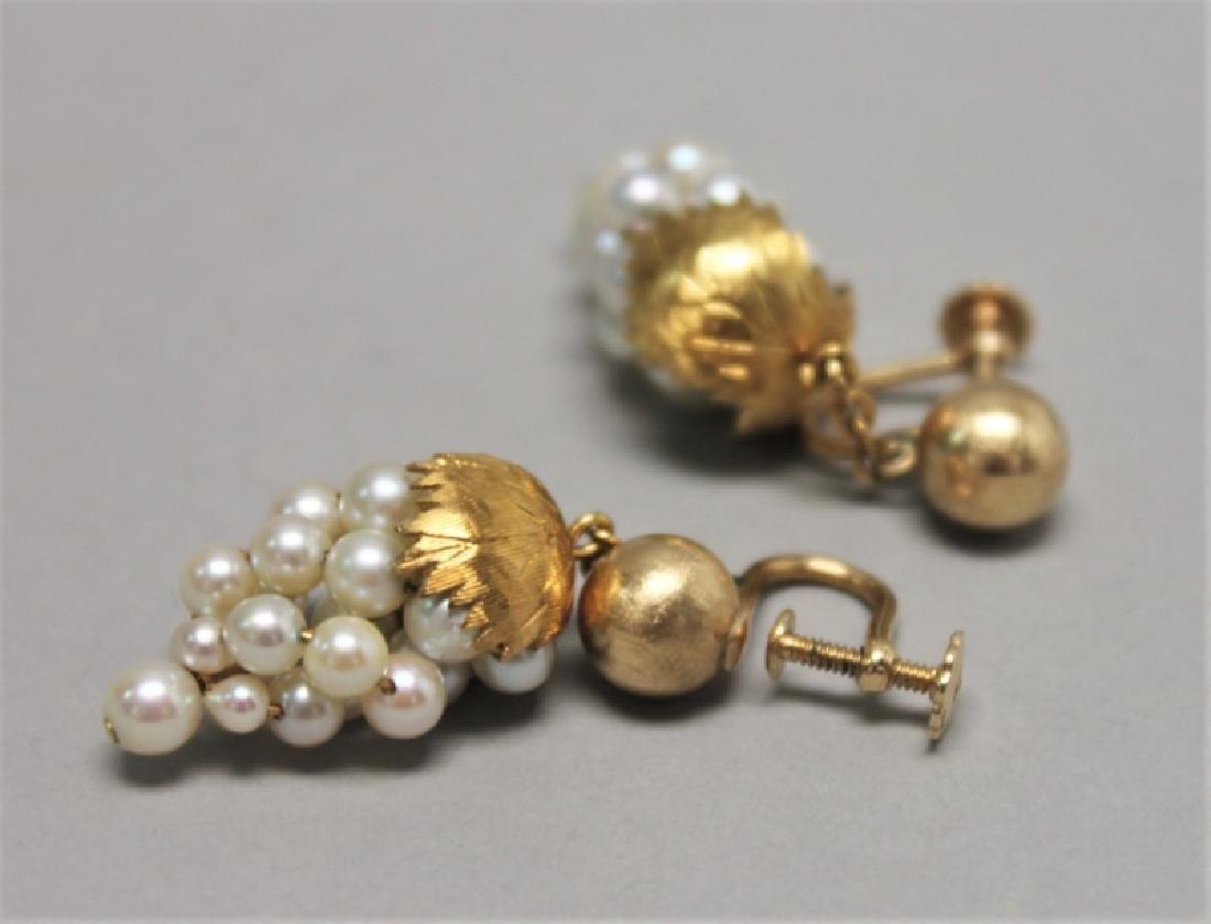 (5) Pairs 14K Gold Jade pearl & Onyx Earrings - 6