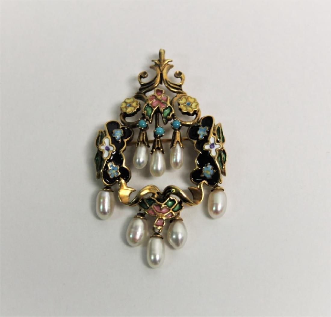 Art Nouveau 14K Gold, Enamel & Pearl Brooch - 2