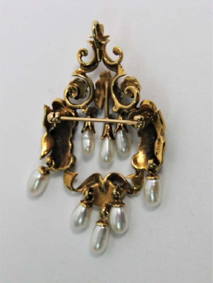 Art Nouveau 14K Gold, Enamel & Pearl Brooch - 4