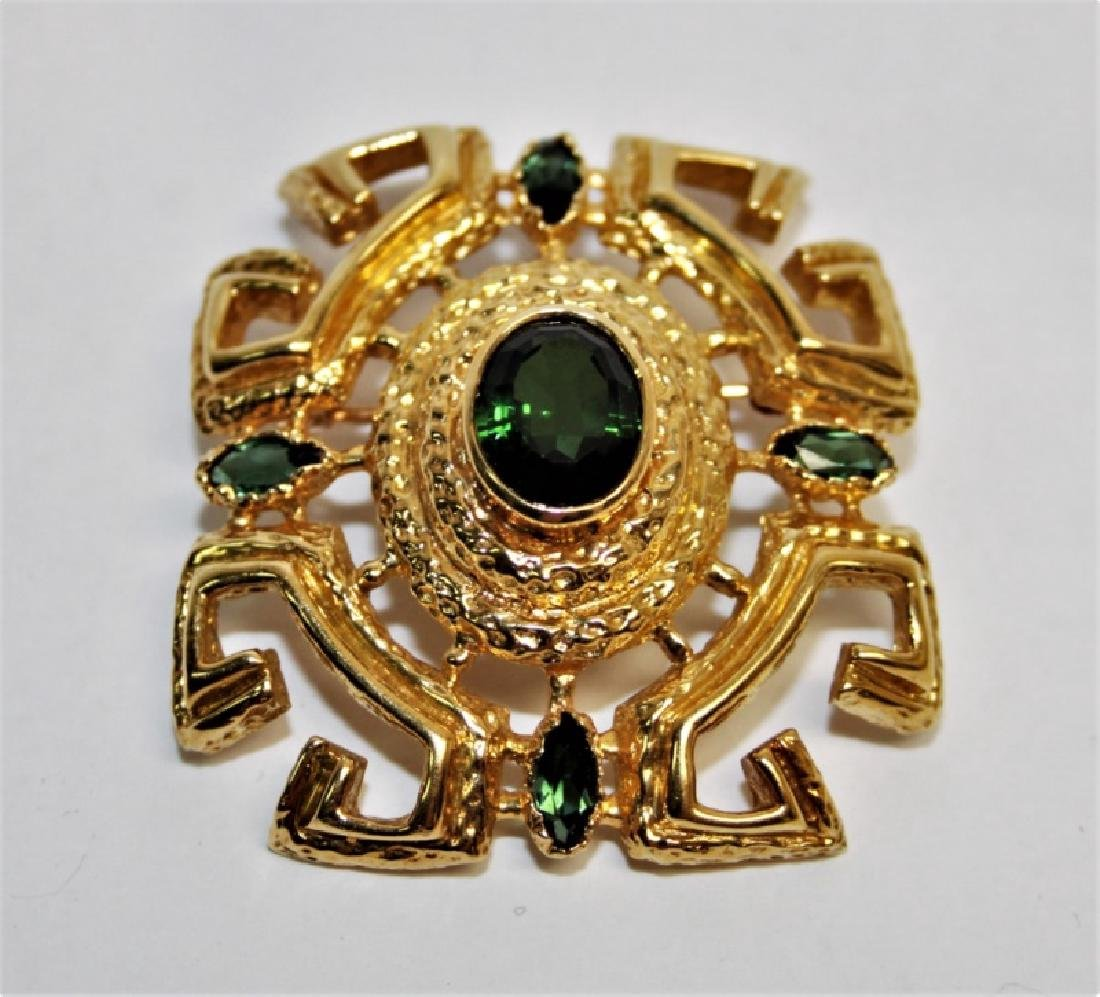 Vintage 18K Gold and Emerald Brooch / Pin