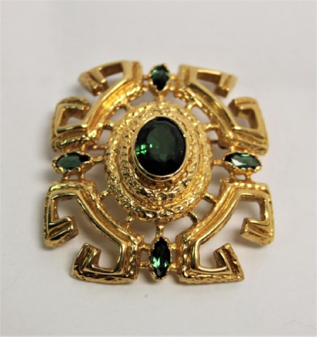 Vintage 18K Gold and Emerald Brooch / Pin - 2