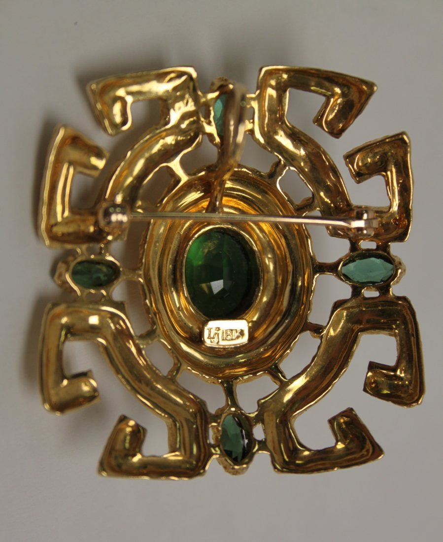 Vintage 18K Gold and Emerald Brooch / Pin - 4