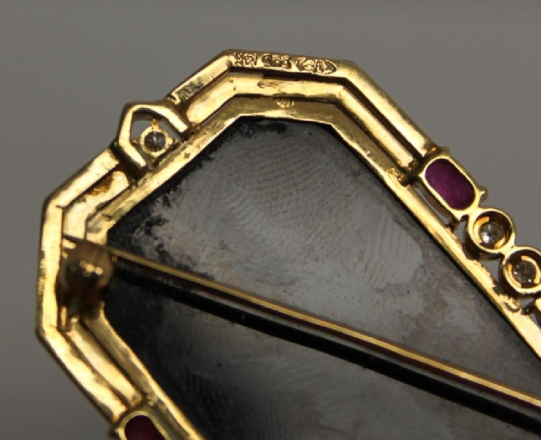 14K Gold, Onyx, Ruby, Diamond & Carved Opal Brooch - 4