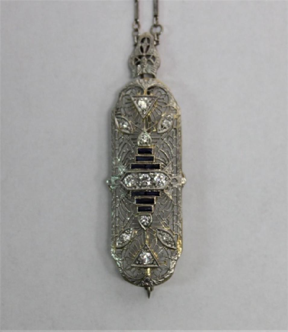 Art Deco 14k Gold Diamond & Sapphire Necklace