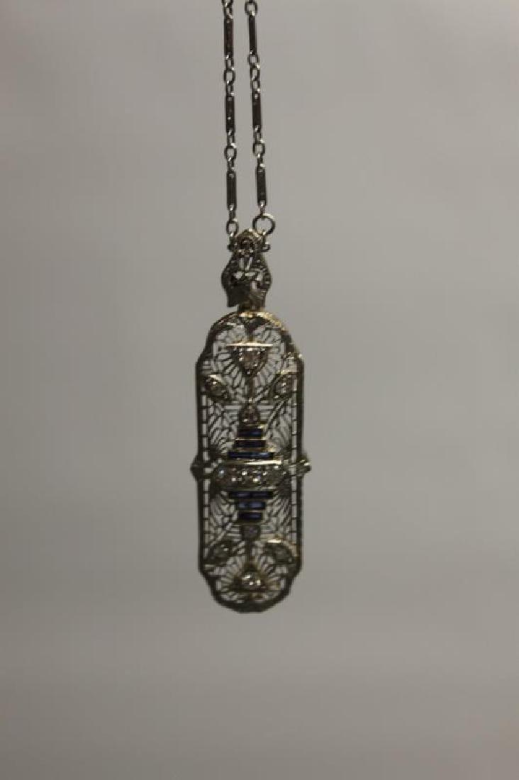 Art Deco 14k Gold Diamond & Sapphire Necklace - 3