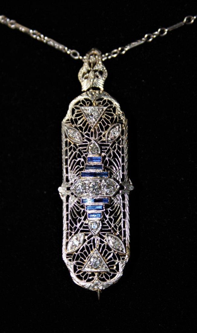 Art Deco 14k Gold Diamond & Sapphire Necklace - 4