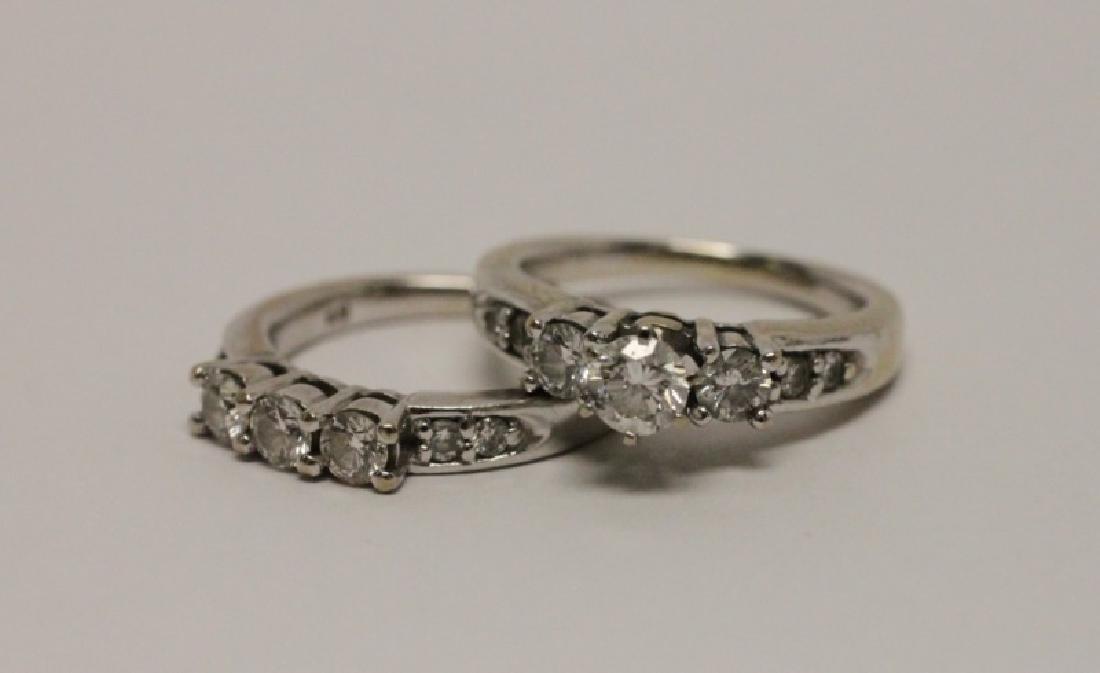 14k Gold & Diamond Wedding Band & Engagement Ring - 2
