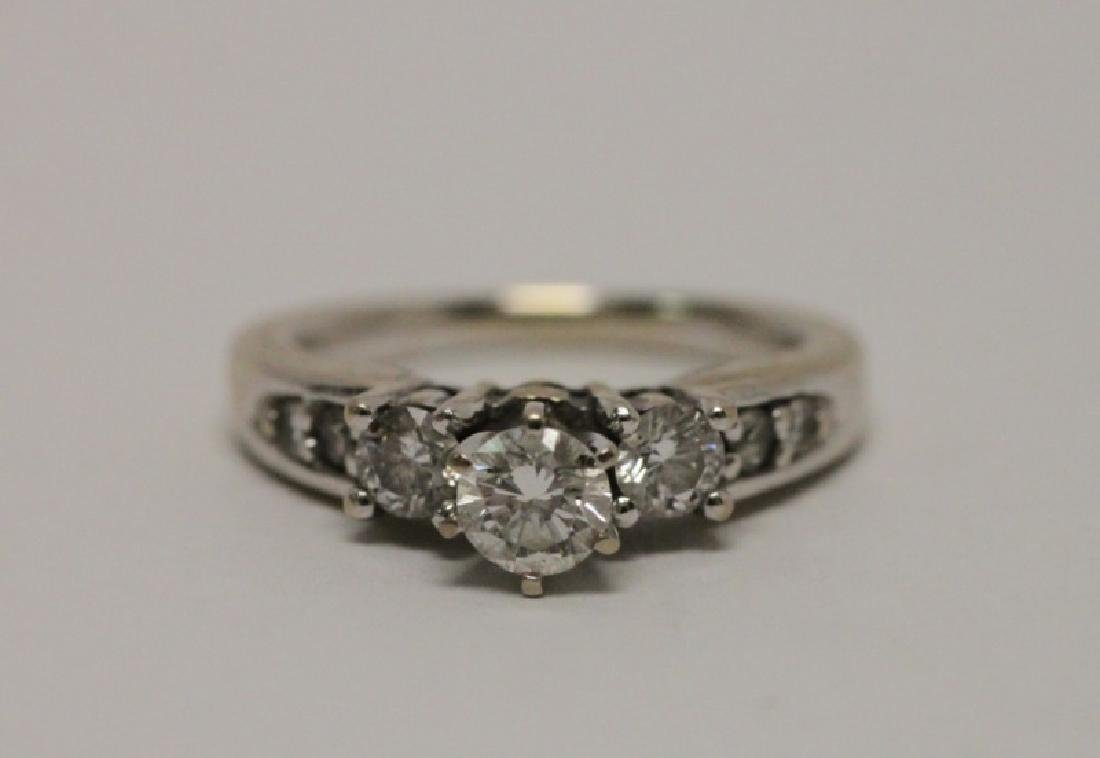 14k Gold & Diamond Wedding Band & Engagement Ring - 3